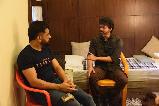 Cricket Thala Dhoni with Kollywood Thalapathy Vijay at Gokulam Studios