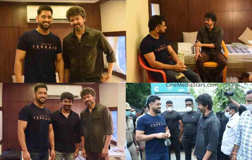 Thalapathy Vijay and Thala Dhoni at Gokulam Studios