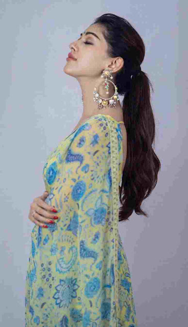 Mallu Actress Anu Emmanuel Sexy Sleeveless Saree Photoshoot Stills