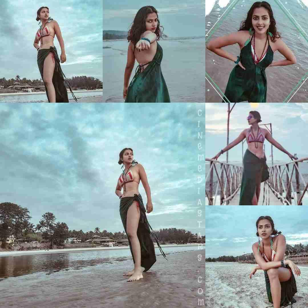 Amala Paul Gorgeous Red Hot Bikini in Beach