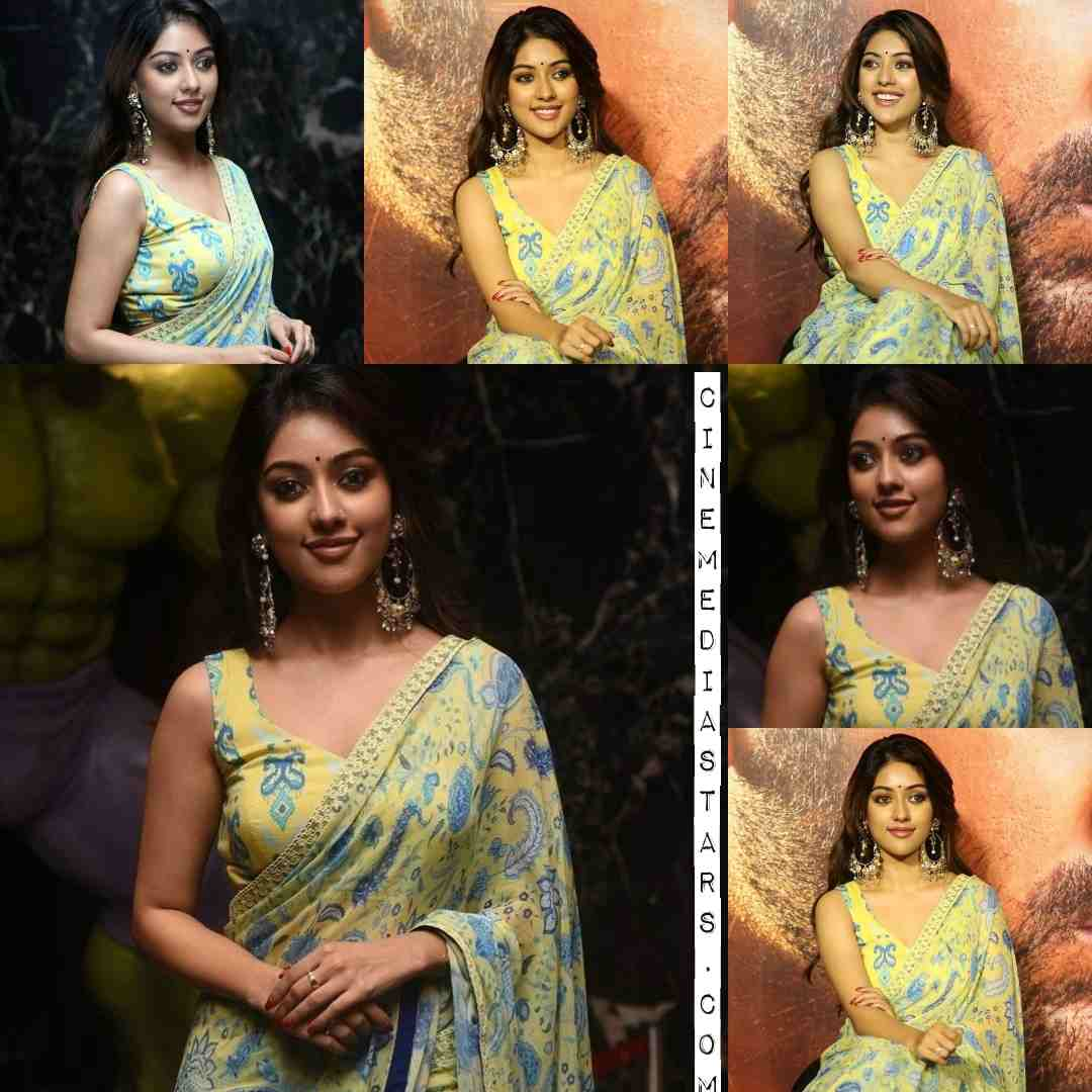 Actress Anu Emmanuel Gorgeous Sleeveless Saree Stills Maha Samudram Audio Launch