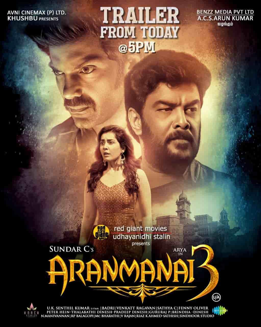 Aranmanai 3 - Official Trailer Featuring Arya Raashi Khanna directed by Sundar C